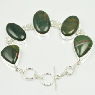 Blood Stone Bracelet Silver Overlay over Copper 24 cm B2265 in Charm Bracelets from Jewelry Accessories