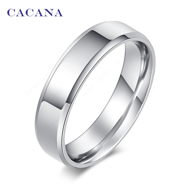 CACANA Titanium Stainless Steel Rings For Women Polishing Stainless Steel Fashio
