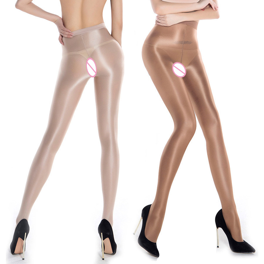 One Line Crotch 70D Dance Stockings Womens Oil Shine Tights Non-slip Pantyhose Sexy Lustre Legs Stretchy Silky Tights Plus Size