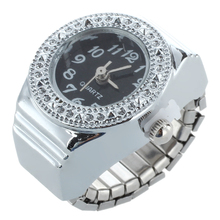 Crystal ring clock quartz ring alloy Unisex Black Watch