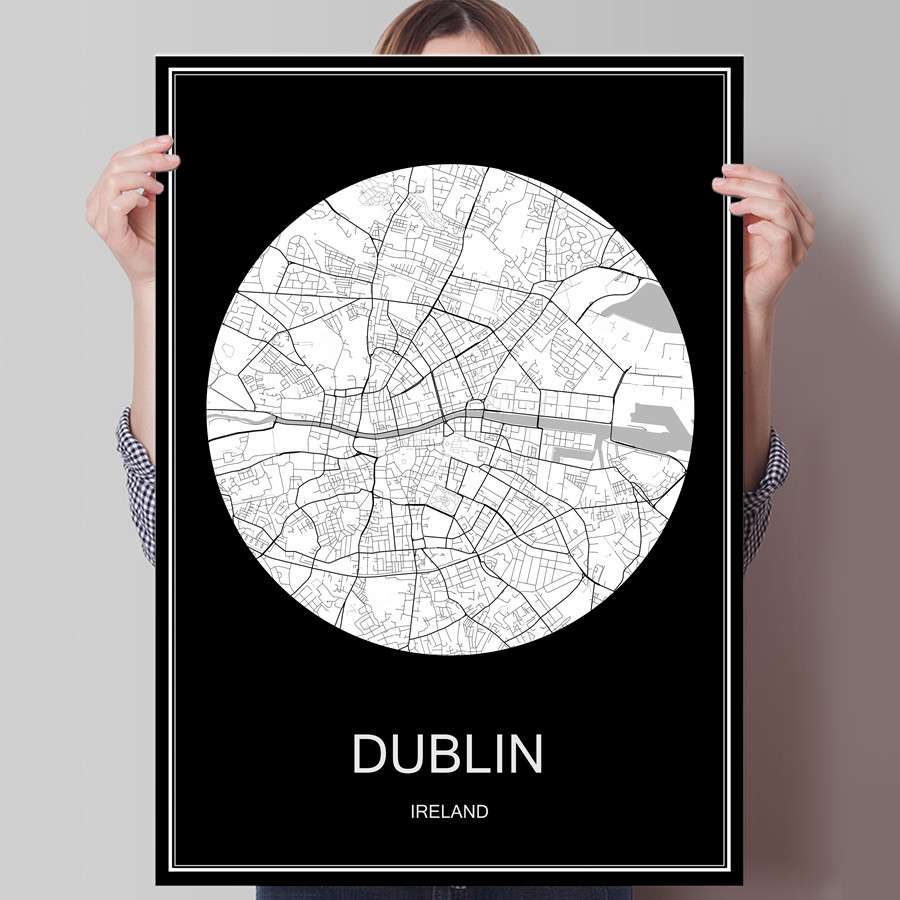 Dublin Ireland Famous World City Map Print Poster Print On Paper Or