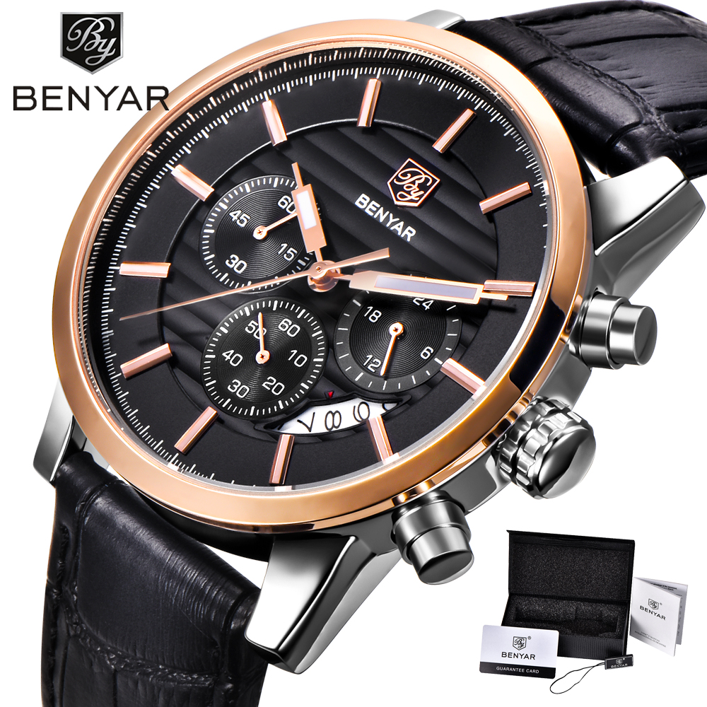 <font><b>BENYAR</b></font> Fashion & Casual Sport Watches Men Leather Military Waterproof Luxury Quartz Gold Watch Male Chronograph reloj hombre image