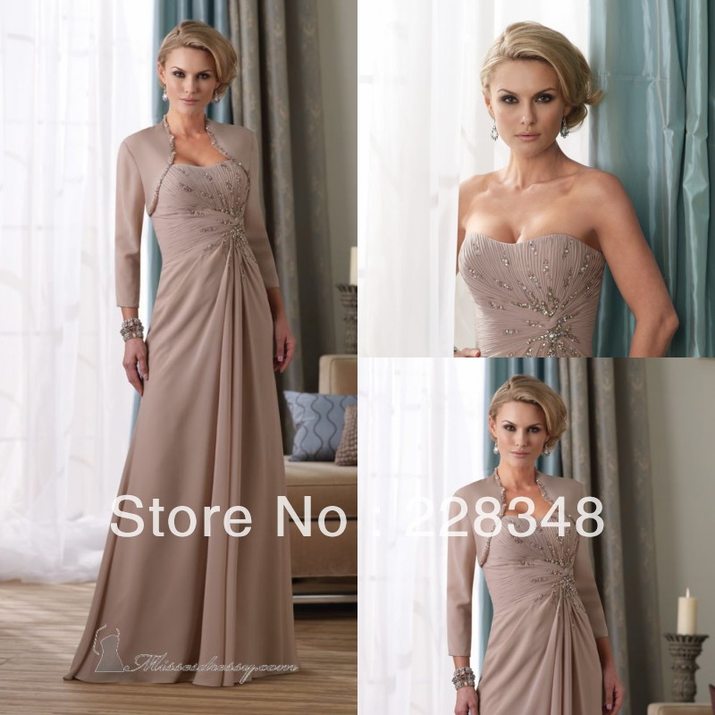 New Sweetheart Tan chiffon Beaded A line Floor Length Mother Of The ...
