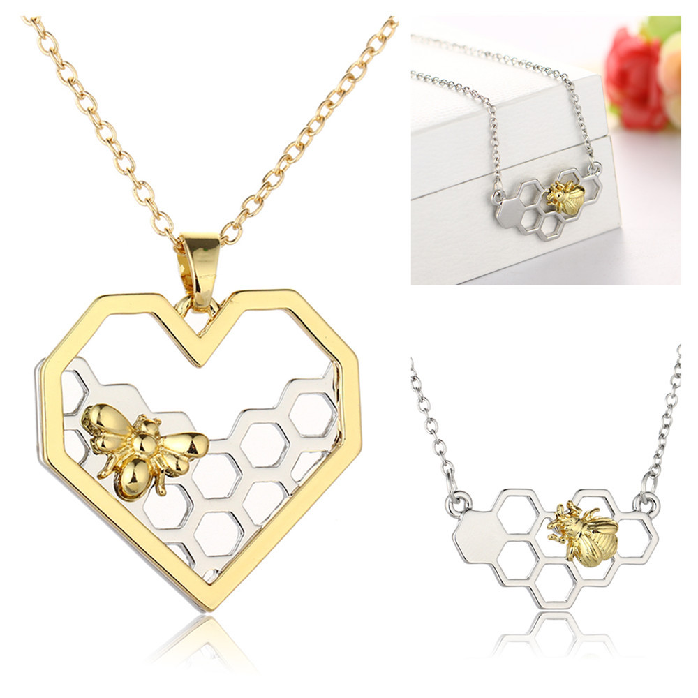 100PCS Charm Fashion Silver Necklaces for Women Girl Heart Honeycomb Bee Animal Pendant Choker Necklace Jewelry Party Prom Gift