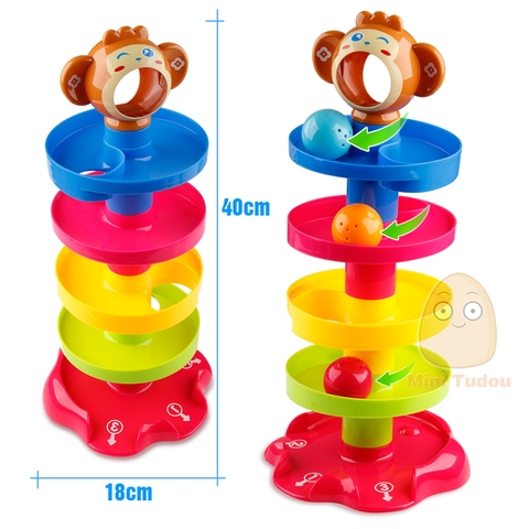 Kids Rolling Ball Drop Toy for Babies Toddlers 5 Layer Tower Run with Swirling Ramps & 3 Balls Educational Development Toys Karachi