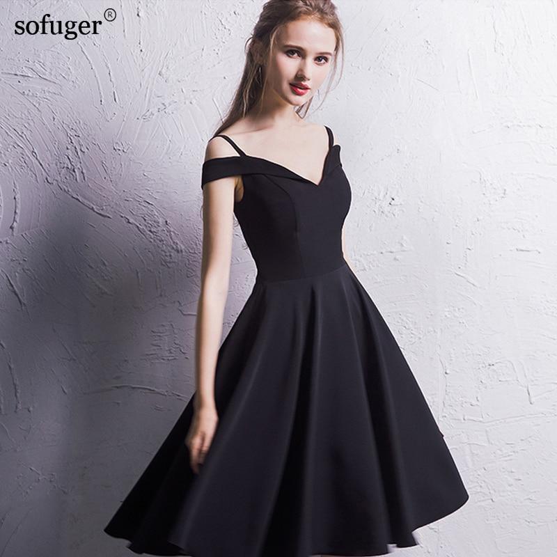 2018 Cheap Black New arrival A-Line Tea-Length V-Neck Short Sleeve Customized Appliques Elegant Prom Dresses Fairy Style Flower