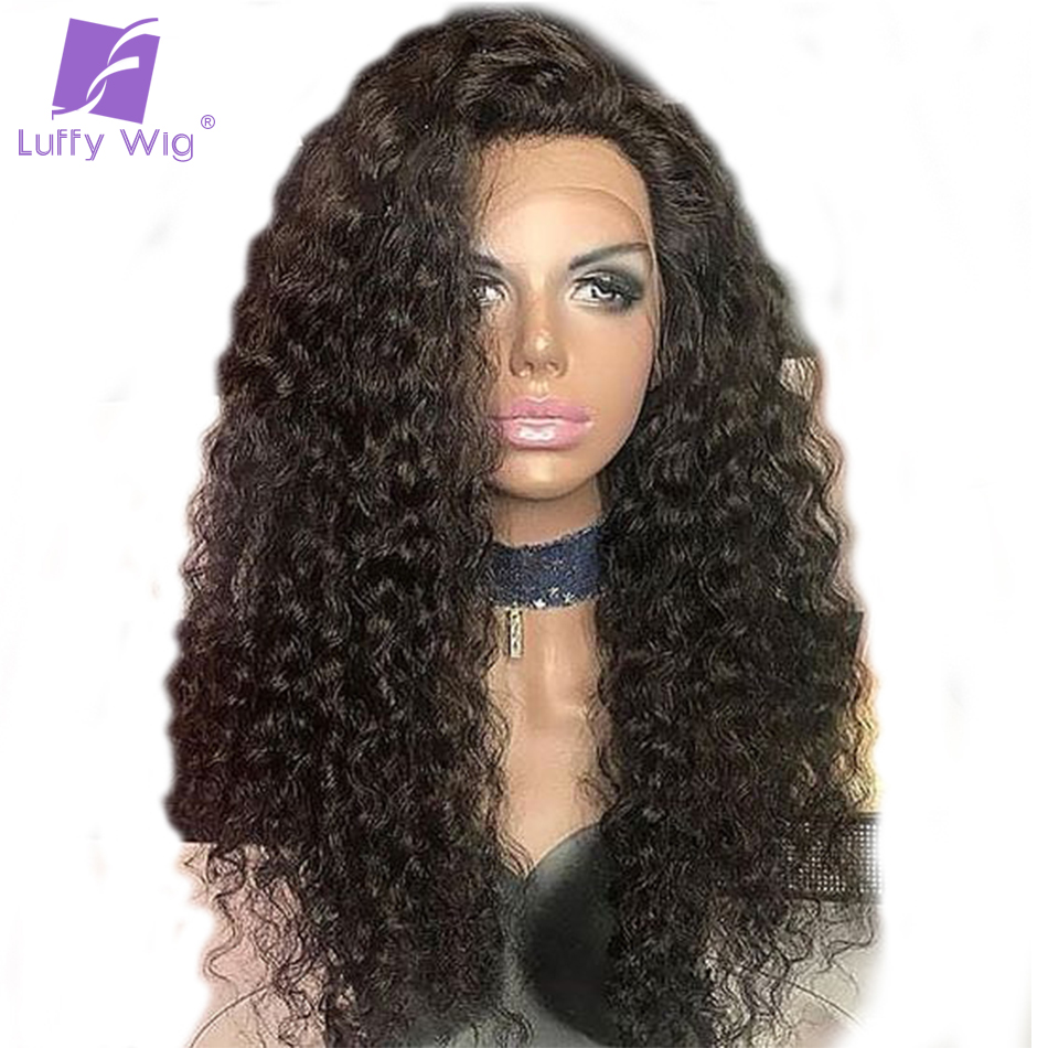 Luffy Natural Color Malaysian Non Remy Hair Full Lace Short Curly Human Hair Wig For Black Women With Baby Hair High Ponytail
