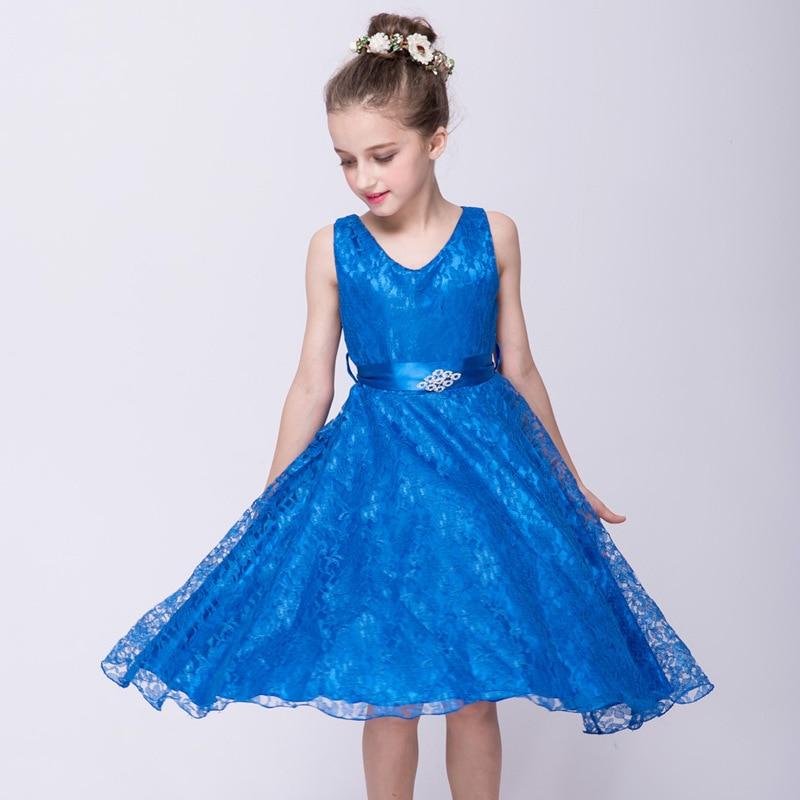 2018 New Children's dress, girl's dress, children's performance, girl's dress, lace, evening dress, children's wear see thru mini lace dress