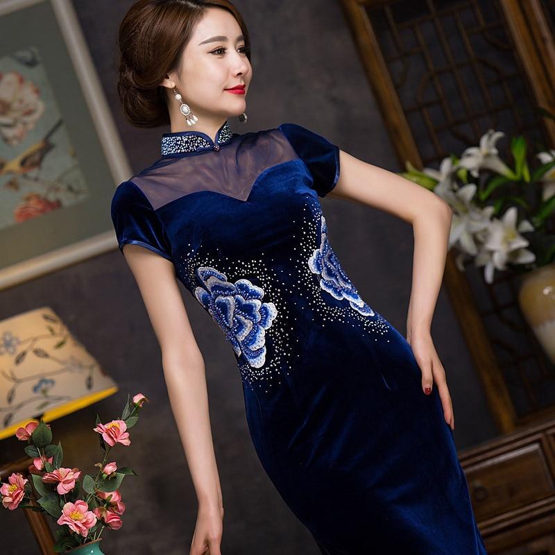 2017 Traditional Chinese Fashion Cheongsam Illusion Neckline Oriental Long Dress Winter Qipao Dresses Cheongsams Velour Improve