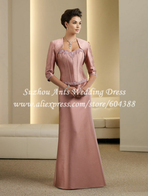 Elegant Sweetheart Peach Mother Of The Bride Dresses With Jacket Half Sleeve A Line Nl220