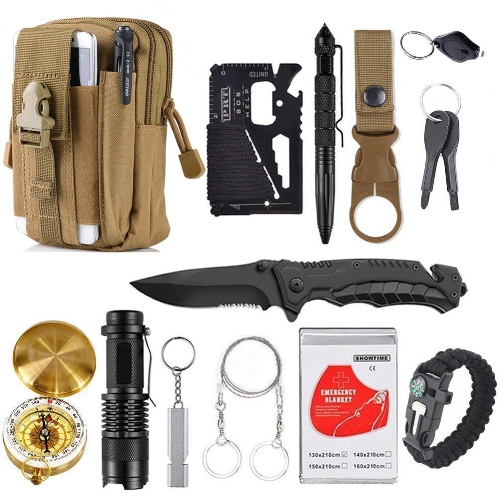 Survival kit set folding knife gear (8)