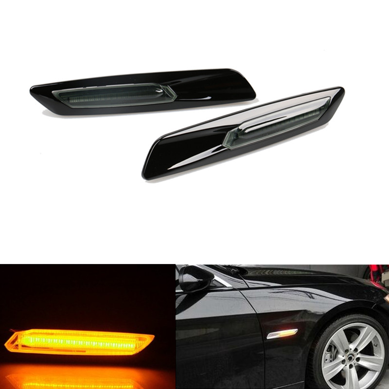2pc Trim LED Fender Side Marker Light Turn Signal Lamp For BMW E60 E82 E87 E88 E90 E91 E92 E93 Car Styling amber yellow 4pcs black led front fender flares turn signal light car led side marker lamp for jeep wrangler jk 2007 2015 amber accessories