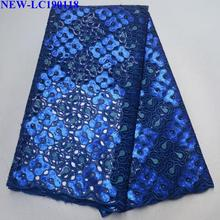 Высокое качество африканская органза кружевная ткань Французский Королевский синий пайетки французский тюль кружева ткани для свадебного платья HG-001