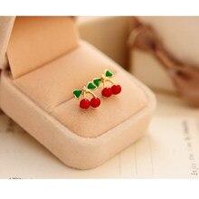 Brincos de cereja vermelho esmalte de frutas frescas, brincos femininos modernos de cereja e esmalte, brinco jovem bonito para meninas