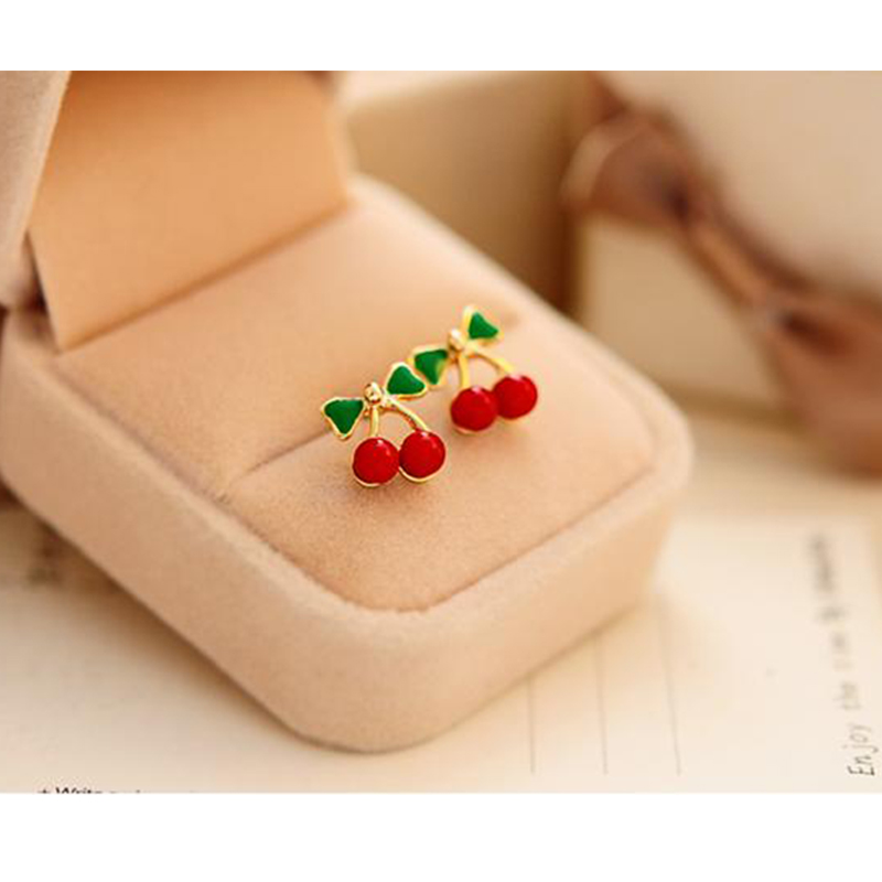Sweet fresh Fruit Enamel Red Cherry Earrings for Women Fashion Female Youth Beautiful Girl Students Stud earrings