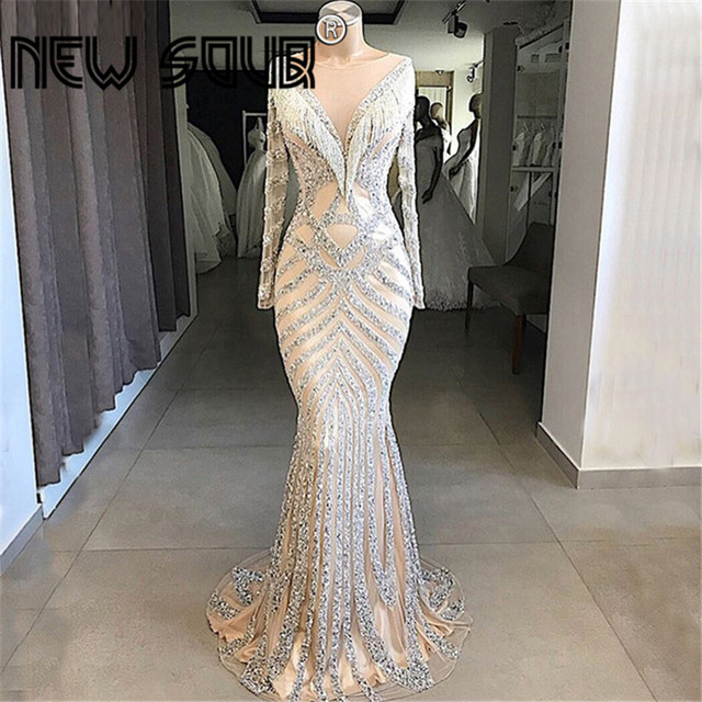 Kaftans Formal Beading Long Evening Dresses With Tassel Rhinestone Mermaid Prom Dress Party Gowns Arabic Dubai Robe De Soiree