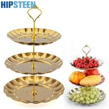 HIPSTEEN 3 Tier Edelstahl Gold Tortenständer Top Qualität Kreis Runde Display Hochzeit Geburtstag Party Cupcake Standaard