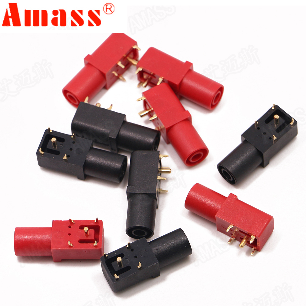 4pcs Amass Banana Socket Pure Copper Gold Plated 24.245 4mm 90 Degree PCB Panel Safety PA Molded Case High Current 24A 1000V