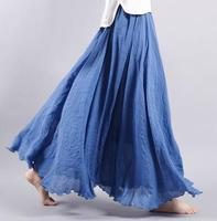 New Fashion Spring Autumn Floor Length Skirts Women Plus Size Elastic Waist A Line Skirts Female