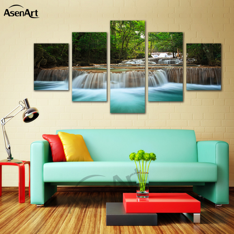 5 panel wall pictures waterfall painting for living room nature landscape on canvas print framed for Landscape paintings for living room