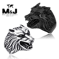 Vintage punk Wolf sale titanium stainless steel animal ring fashion jewelry wholesale sivler black color Fast shipping STR7-065