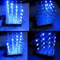 New 4*4*4 3D LED Light Squared Blue LED Cube DIY Kit A1784