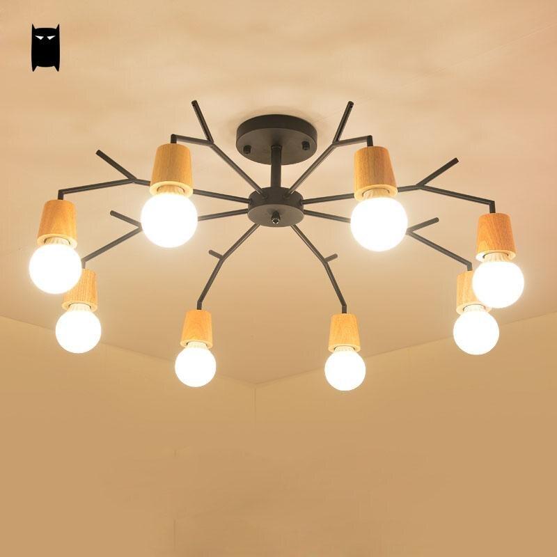 Schwarz Eisen Eichenholz Spinne Deckenleuchte Moderne Nordic Kreative Koreanische Plafon Lustre Luminaria Foyer Wohnzimmer Schla