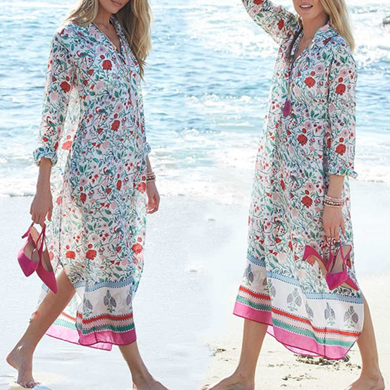 0d5b908fb6363 ... 2019 Chiffon Print Beach Cover up Swimming Dress Swimsuit Cover up Beach  Tunic plus size Cover ...