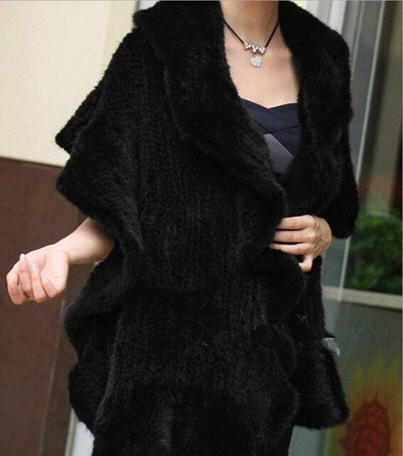 winter knitted real mink fur coat import ruffled mink poncho shawl women's fashion natural fur warp black fur coat