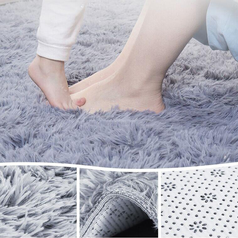 Shaggy modern bathroom bath thick rugs suede carpet non for Cheap carpets for bedroom
