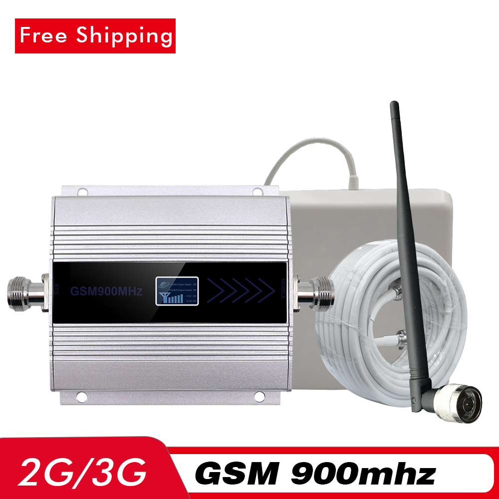 60dB LCD Display Cell Phone Signal Booster 2G GSM 900mhz Mobile Signal Repeater 2G 3G GSM Network Cellular Amplifier Antenna Set in Signal Boosters from Cellphones Telecommunications
