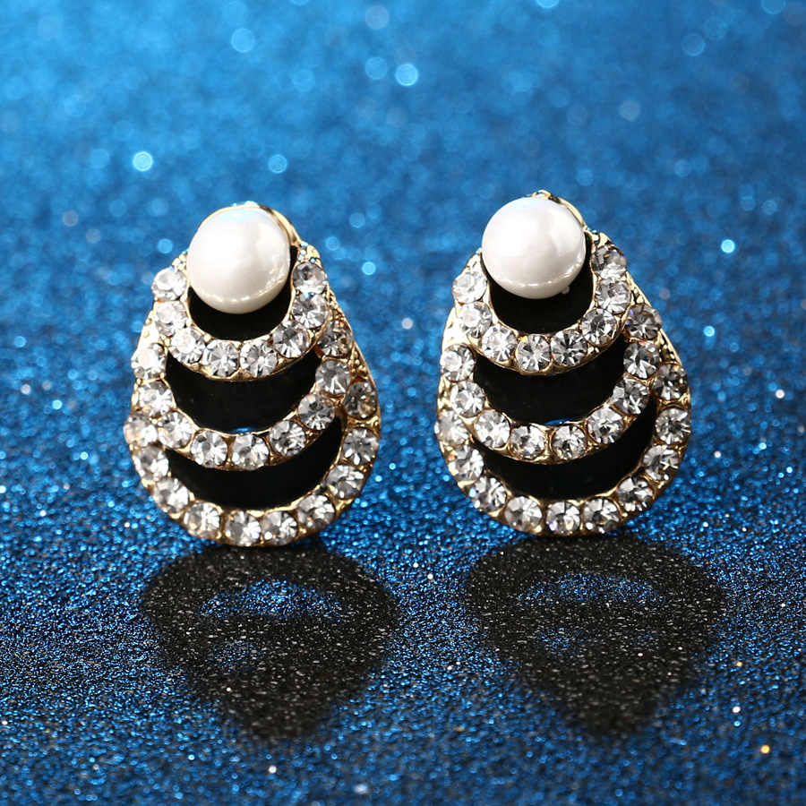 Luxury Indian Jewelry 2pcs Sets Black Enamel Pearl Necklaces And Earrings Gold Color Inlaid Artificial Zircons Engagement Gift