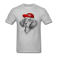 Design For Shirts Dog With Red Hat White Short Sleeve Custom Men Camisa Masculina T Shirts