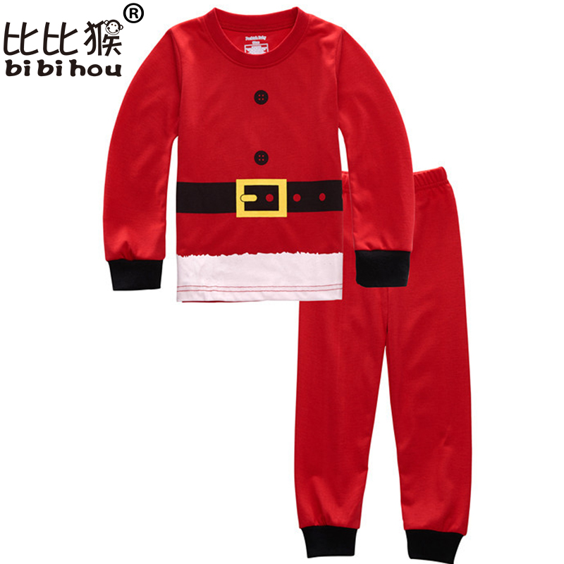 цена на Baby christmas pjs Clothes Sets tracksuit kids Santa Claus sports suit Bebe toddler girl clothing Set Tops+Pant 2pcs sleepwear