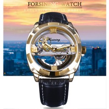 Automatic Golden Double Side Transparent Modern Design Men Watch