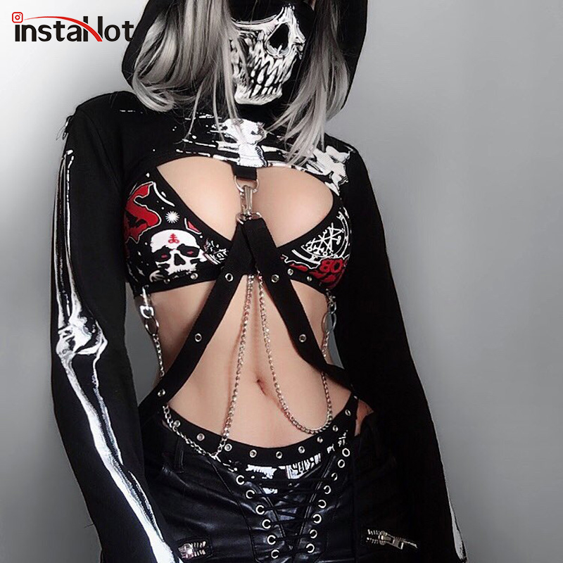 InstaHot Gothic Punk Hooded Hoodies Women Black Skeleton Print Mask Long Sleeve Crop Tops 2019 Fashion Halloween Top Sweatshirt