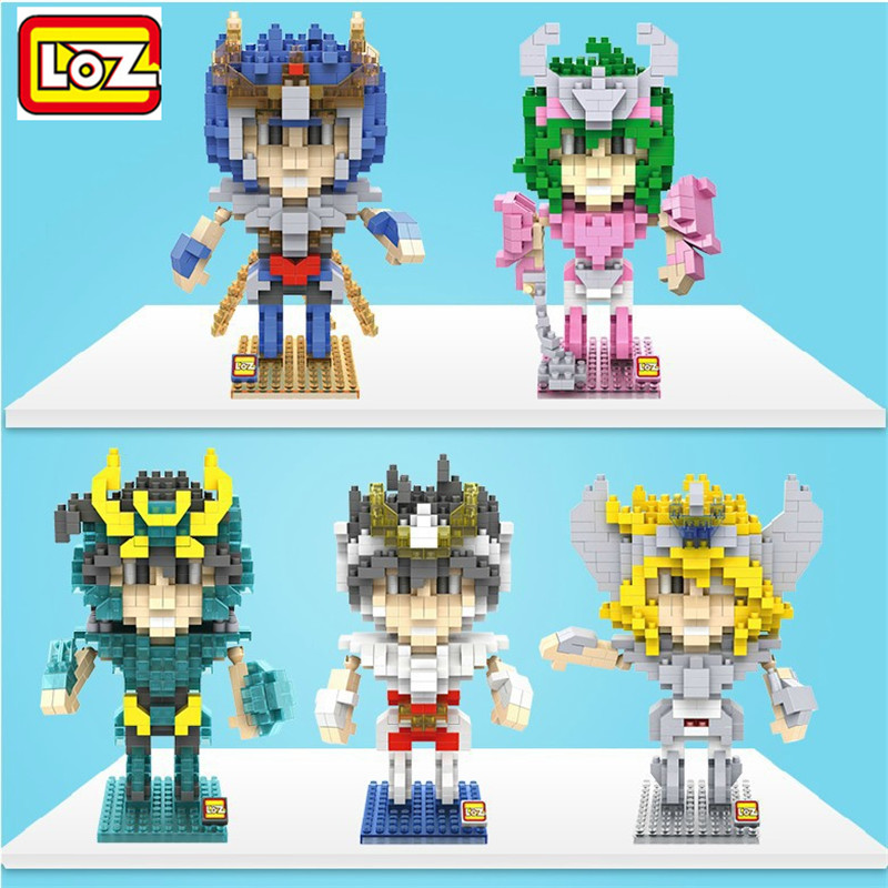 Mini Block Saint Seiya Bronze Saints Diamond Building Blocks Shiryu Ikki Super Hyoga Shun Cartoon toys Limited Collection value punk style pure color hollow out ring for women