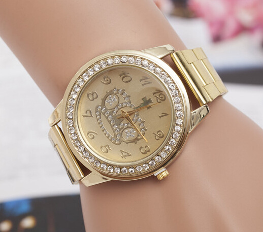 8e27c04f198697 The new diamond fake gold watch men and women fashion Crown steel quartz  watch