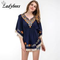 LADYBEES Women Blouse Plus Size 5XL Floral Embroidery Beach Wear Boho Tassel Tops Summer Ruffle Batwing Sleeve Casual Shirts new