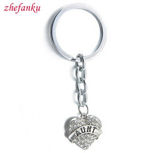 Holder Charm Friendship Forever Key Ring Chrismas Gift Luxury Love Aunt Keychain Clear Crystal Rhinestone Fashion Key Chains(China)