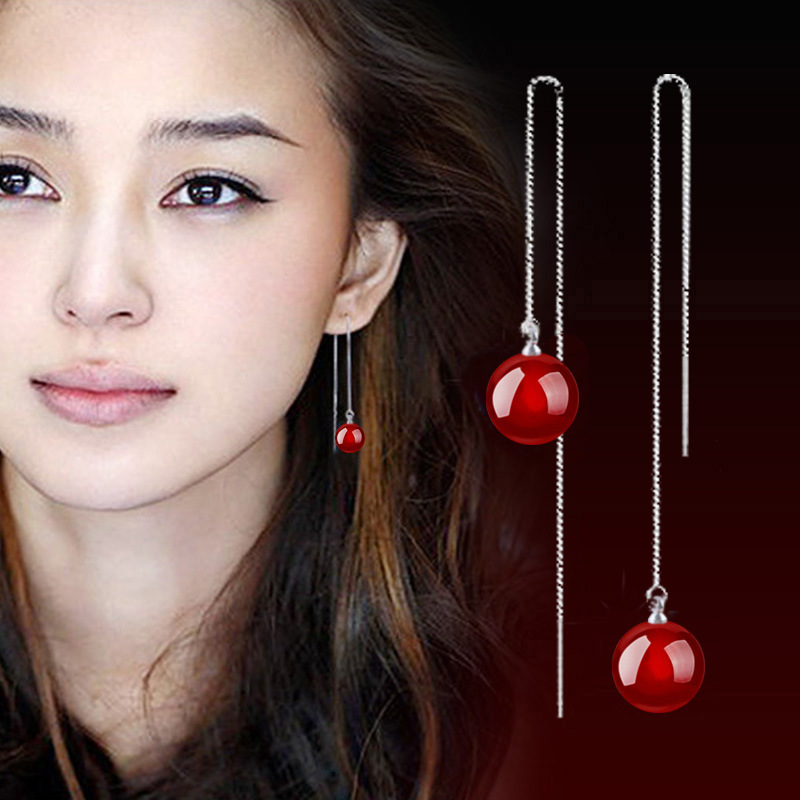 Trending Styles Long Red Crystal Dangle Earrings Women 2018 Sterling Silver Earings Pendientes Brincos Female Bride Jewelery