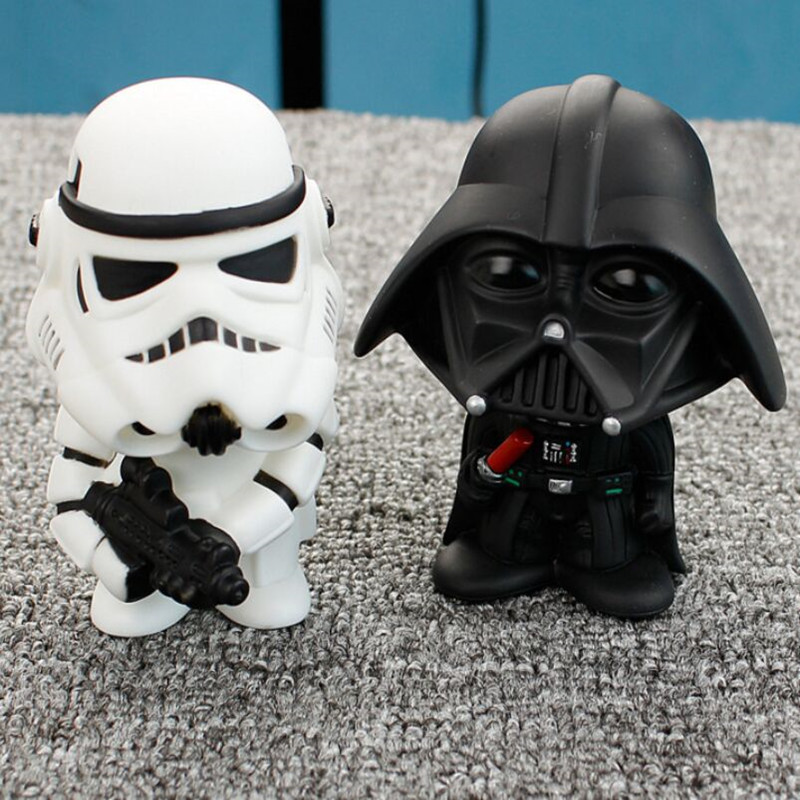 Car Ornament Cute Star Wars Action Figure Doll Automobiles Interior Black Darth Vader White Stormtroopers Model Decoration Gifts car ornament cartoon doll adornment cute expression car decoration dashboard auto interior decor car accessories for gifts 7cm