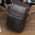 New Men Genuine Leather Cowhide Vintage Travel Cell Mobile Phone Case Cover Belt Pouch Purse Fanny Pack Waist Bag