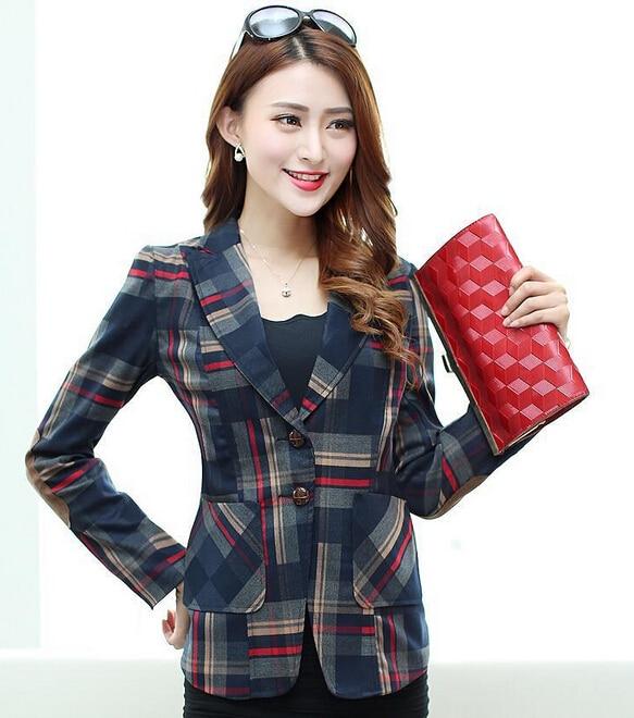 New 2016 Women Vintage Slim Plaid Elbow Patch Two Button Blazer Ladies Autumn Fashion Coat Causal Suit Jacket chaquetas mujer