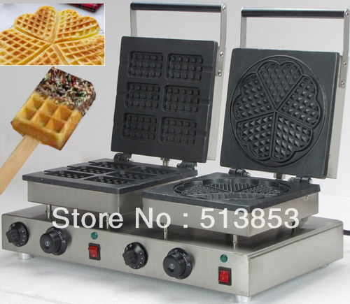 Free Shipping,High Quality Doulbe-Head  Electric Square Waffeleisen + Heart Shape Waffle Maker Machine Baker economic and elegance waffle maker machine baker doulbe head electric churros with bar shaped and popsicle