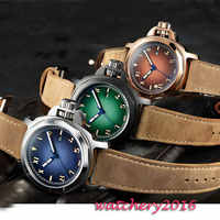 2019 Newest Hot 44mm Parnis Blue Green Brown dial Date SS Case Luminous Sapphire Crystal miyota automatic Mechanical Men's Watch