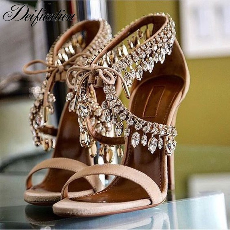 Deification Fashion Pumps Zapatos Mujer 2019 Rhinestone Gladiator Sandals Women Suede Thin High Heels Lace Up Ladies Shoes Woman