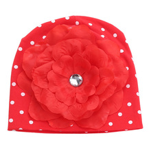 Newborn Outfits Red Big Flower Baby Hat Photography;Fashion Cotton Soft Beanie Cap Infant Spring Hat For Girls Kids Accessories