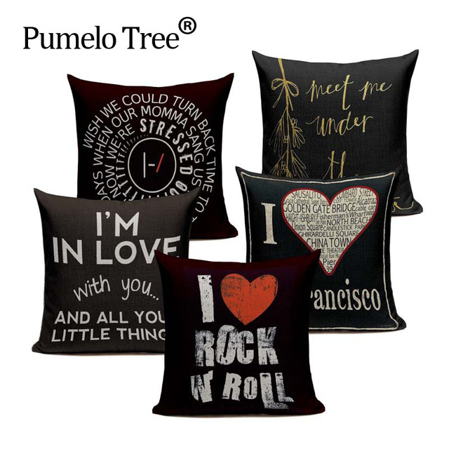 Us 3 29 34 Off European Style Black Elegant Letter Cushion Cover Decorative Pillows For Sofa Car Home Large Floor Woven Linen Toss Pillow Case In