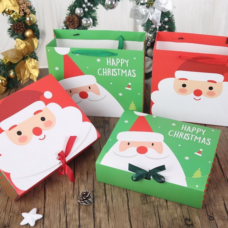 1pc Paper Gift Bag Cartoon Santa Claus Snowman Printed